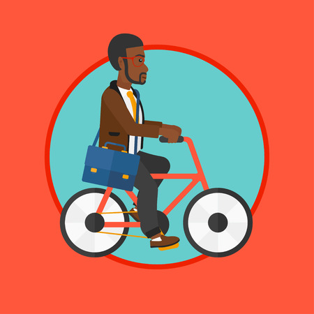 An african-american man riding a bicycle. Cyclist riding bike. Businessman with briefcase on a bike. Healthy lifestyle concept. Vector flat design illustration in the circle isolated on background.
