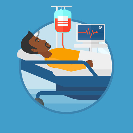 blood transfusion: An african man lying in bed at hospital ward. Patient with heart rate monitor and equipment for blood transfusion in medical room. Vector flat design illustration in the circle isolated on background. Illustration