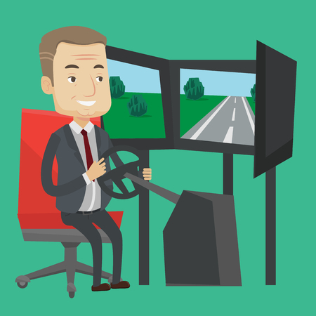 Excited man in a suit playing video game with gaming wheel. Happy smiling gamer driving autosimulator in game room. Man playing car racing video game. Vector flat design illustration. Square layout.
