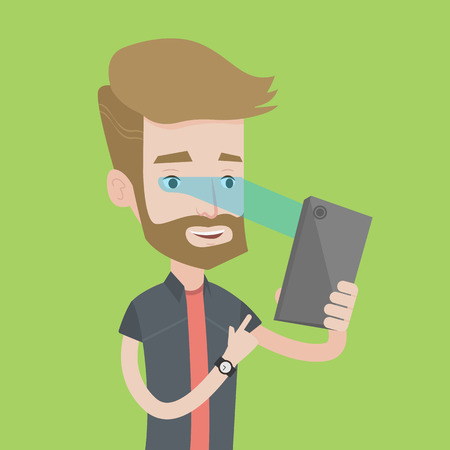 A hipster caucasian man with the beard using smart mobile phone with retina scanner. Young happy man using iris scanner to unlock his mobile phone. Vector flat design illustration. Square layout. Vetores