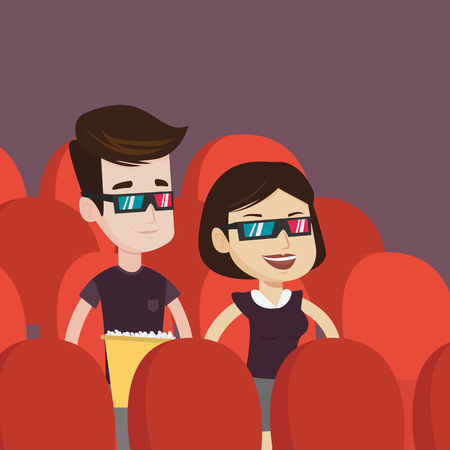 Happy young couple watching three D movie in the theatre. Smiling caucasian friends wearing 3d glasses watching movie and eating popcorn in the cinema. Vector flat design illustration. Square layout.