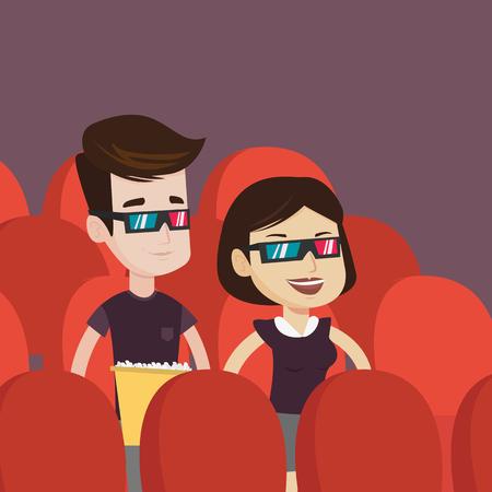 joven pareja feliz viendo tres D película en el teatro. Sonriente caucásicos amigos que usan gafas 3D que mira película y comiendo palomitas de maíz en el cine. Vector de diseño plano ilustración. de planta cuadrada.