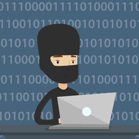 Computer hacker in mask working on laptop on the background with binary code. Hacker using laptop to steal data and personal identity information. Vector flat design illustration. Square layout.