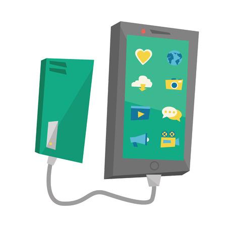 Reharging smartphone van draagbare batterij vector platte ontwerp illustratie op een witte achtergrond. Stockfoto - 63771550