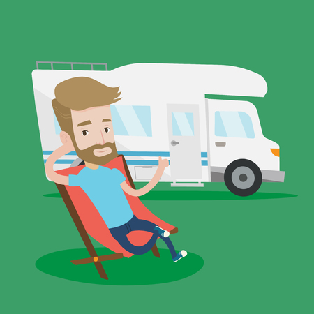 Hipster man with the beard man sitting in a folding chair and giving thumb up on the background of camper van. Young man enjoying vacation in camper van. Vector flat design illustration. Square layout Illustration