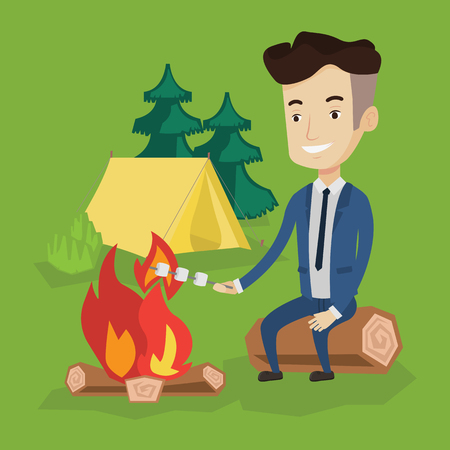 roasting: Happy young businessman in a suit sitting on a log near campfire and roasting marshmallow over campfire on the background of camping site with tent. Vector flat design illustration. Square layout.