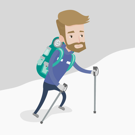 mountaineer: A hipster mountaneer with the beard climbing a snowy ridge. Young hiker climbing a mountain. Mountaineer with backpack walking up along a snowy ridge. Vector flat design illustration. Square layout.