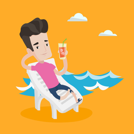 Young joyful man sitting on a chaise longue on the beach. Happy man drinking a cocktail on a beach. Smiling caucasian man on a beach with cocktail. Vector flat design illustration. Square layout. Illustration