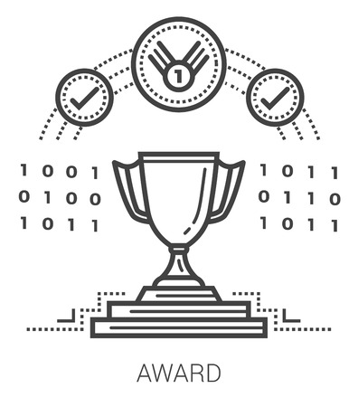 sports symbols metaphors: Award infographic metaphor with line icons. Project award concept for website and infographics. Vector line art icon isolated on white background.