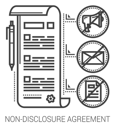 disclosure: Non-disclosure agreement infographic metaphor with line icons. Non-disclosure project agreement concept for website and infographics. Vector line art icon isolated on white background.