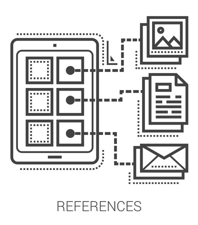 references: References infographic metaphor with line icons. Project references concept for website and infographics. Vector line art icon isolated on white background. Illustration