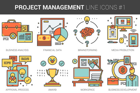 data management: Project management infographic metaphor with line icons. Project management concept for website and infographics. Vector line art icon set isolated on white background.