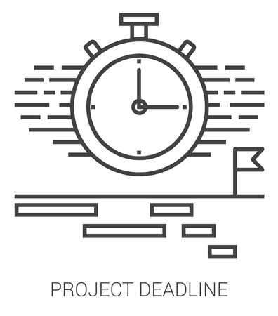 Project deadline infographic metaphor with line icons. Project deadline concept for website and infographics. Vector line art icon isolated on white background. Illustration