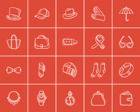 Accessories sketch icon set for web, mobile and infographics. Hand drawn accessories icon set. Accessories vector icon set. Accessories icon set isolated on red background. Vectores