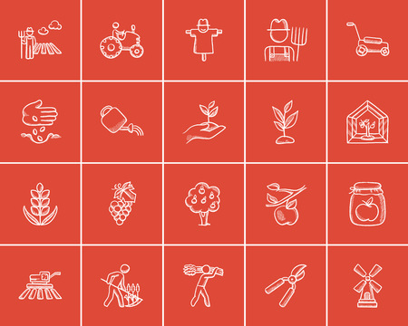 agriculture icon: Agriculture sketch icon set for web, mobile and infographics. Hand drawn agriculture icon set. Agriculture vector icon set. Agriculture icon set isolated on red background.