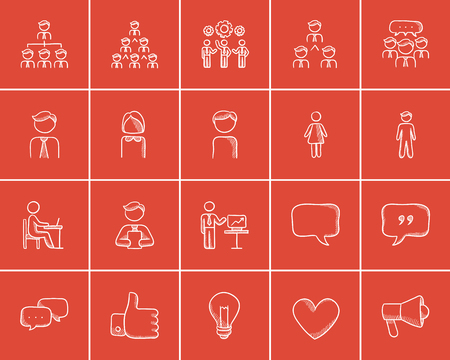 pictogram people: Business sketch icon set for web, mobile and infographics. Hand drawn business icon set. Business vector icon set. Business icon set isolated on red background.