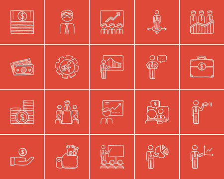 Business sketch icon set for web, mobile and infographics. Hand drawn business icon set. Business vector icon set. Business icon set isolated on red background.