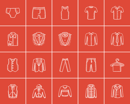 Clothes for men sketch icon set for web, mobile and infographics. Hand drawn clothes for men icon set. Clothes for men vector icon set. Clothes for men icon set isolated on red background. Illustration