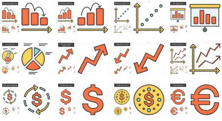 Business vector line icon set isolated on white background. Business line icon set for infographic, website or app. Scalable icon designed on a grid system.