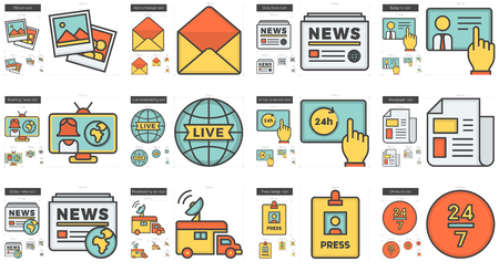 scalable set: Journalism vector line icon set isolated on white background. Journalism line icon set for infographic, website or app. Scalable icon designed on a grid system.
