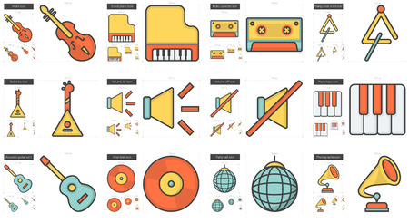scalable set: Music vector line icon set isolated on white background. Music line icon set for infographic, website or app. Scalable icon designed on a grid system.