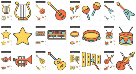 fret: Music vector line icon set isolated on white background. Music line icon set for infographic, website or app. Scalable icon designed on a grid system.