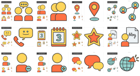 scalable set: Social media vector line icon set isolated on white background. Social media line icon set for infographic, website or app. Scalable icon designed on a grid system. Illustration