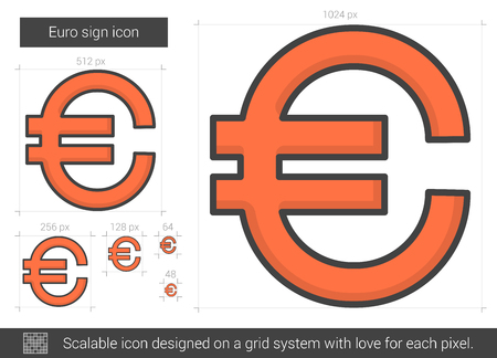 price gain: Euro sign vector line icon isolated on white background. Euro sign line icon for infographic, website or app. Scalable icon designed on a grid system. Illustration