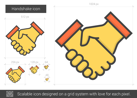 scalable: Handshake vector line icon isolated on white background. Handshake line icon for infographic, website or app. Scalable icon designed on a grid system.
