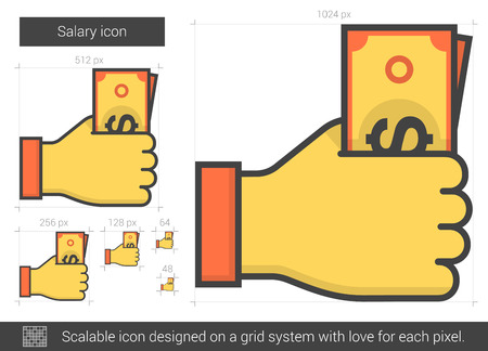 salaries: Salary vector line icon isolated on white background. Salary line icon for infographic, website or app. Scalable icon designed on a grid system. Illustration