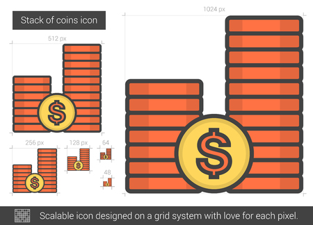 Stack of coins vector line icon isolated on white background. Stack of coins line icon for infographic, website or app. Scalable icon designed on a grid system. Illustration