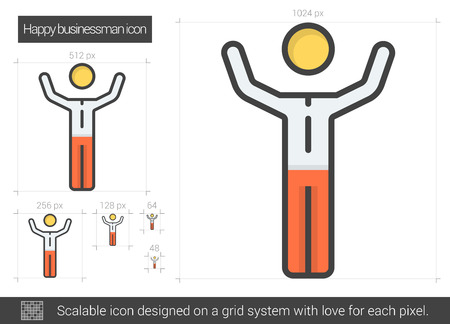 scalable: Happy businessman vector line icon isolated on white background. Happy businessman line icon for infographic, website or app. Scalable icon designed on a grid system. Illustration