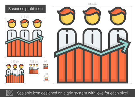 job icon: Business profit vector line icon isolated on white background. Business profit line icon for infographic, website or app. Scalable icon designed on a grid system.