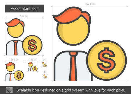 Accountant vector line icon isolated on white background. Accountant line icon for infographic, website or app. Scalable icon designed on a grid system. Illustration
