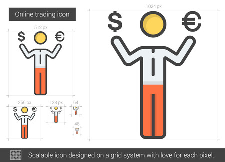 Online trading vector line icon isolated on white background. Online trading line icon for infographic, website or app. Scalable icon designed on a grid system. Illustration