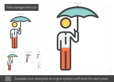 managment: Risk managment vector line icon isolated on white background. Risk managment line icon for infographic, website or app. Scalable icon designed on a grid system. Illustration