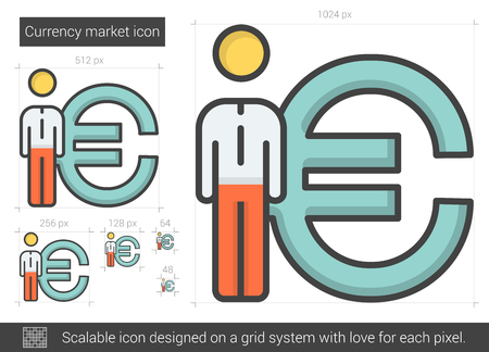Currency market vector line icon isolated on white background. Currency market line icon for infographic, website or app. Scalable icon designed on a grid system. Ilustração