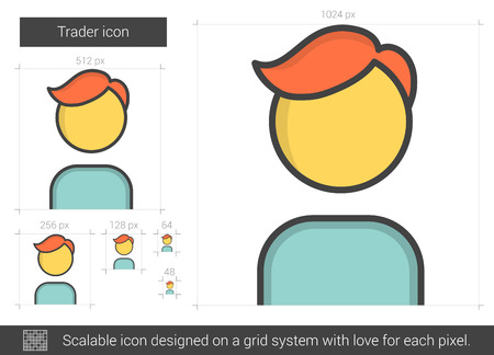 trader: Trader vector line icon isolated on white background. Trader line icon for infographic, website or app. Scalable icon designed on a grid system. Illustration
