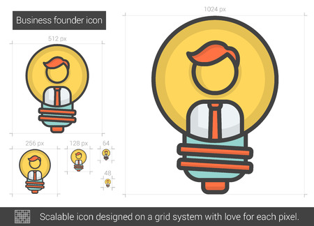 founder: Business founder vector line icon isolated on white background. Business founder line icon for infographic, website or app. Scalable icon designed on a grid system. Illustration