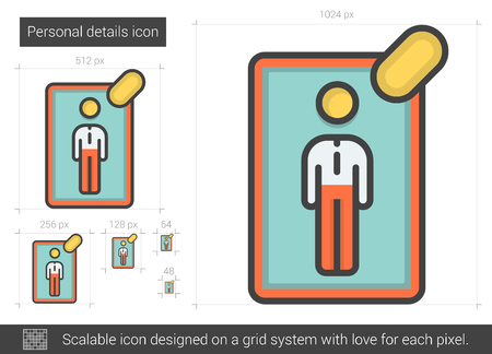 details: Personal details vector line icon isolated on white background. Personal details line icon for infographic, website or app. Scalable icon designed on a grid system.