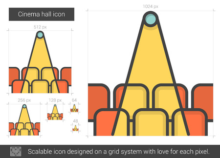 Cinema hall vector line icon isolated on white background. Cinema hall line icon for infographic, website or app. Scalable icon designed on a grid system. Vettoriali