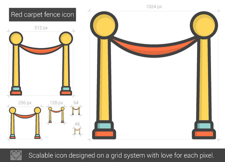 Red carpet fence vector line icon isolated on white background. Red carpet fence line icon for infographic, website or app. Scalable icon designed on a grid system. Banco de Imagens - 63919638