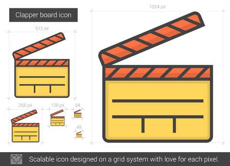 cinematograph: Clapper board vector line icon isolated on white background. Clapper board line icon for infographic, website or app. Scalable icon designed on a grid system.