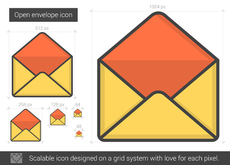 Open envelope vector line icon isolated on white background. Open envelope line icon for infographic, website or app. Scalable icon designed on a grid system. Illustration