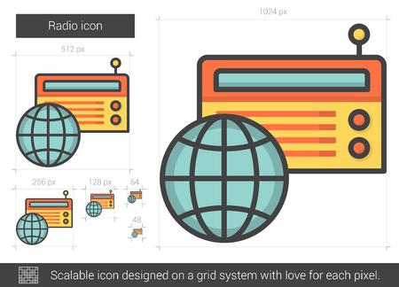 world receiver: Radio vector line icon isolated on white background. Radio line icon for infographic, website or app. Scalable icon designed on a grid system.