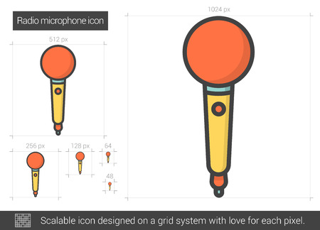 radio microphone: Radio microphone vector line icon isolated on white background. Radio microphone line icon for infographic, website or app. Scalable icon designed on a grid system. Illustration
