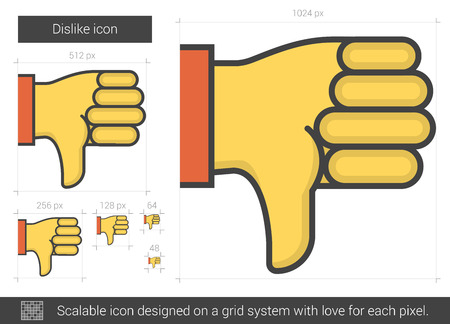disapprove: Dislike vector line icon isolated on white background. Dislike line icon for infographic, website or app. Scalable icon designed on a grid system.