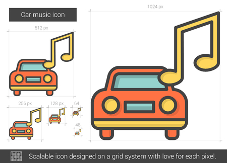 listening: Car music vector line icon isolated on white background. Car music line icon for infographic, website or app. Scalable icon designed on a grid system.