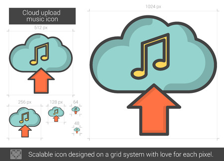 Cloud upload music vector line icon isolated on white background. Cloud upload music line icon for infographic, website or app. Scalable icon designed on a grid system. Illustration