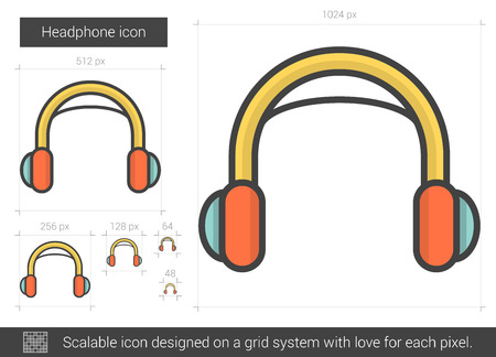 Headphone vector line icon isolated on white background. Headphone line icon for infographic, website or app. Scalable icon designed on a grid system. Illustration